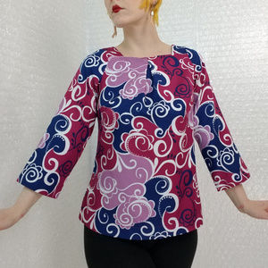 Vintage paisley floral keyhole blouse